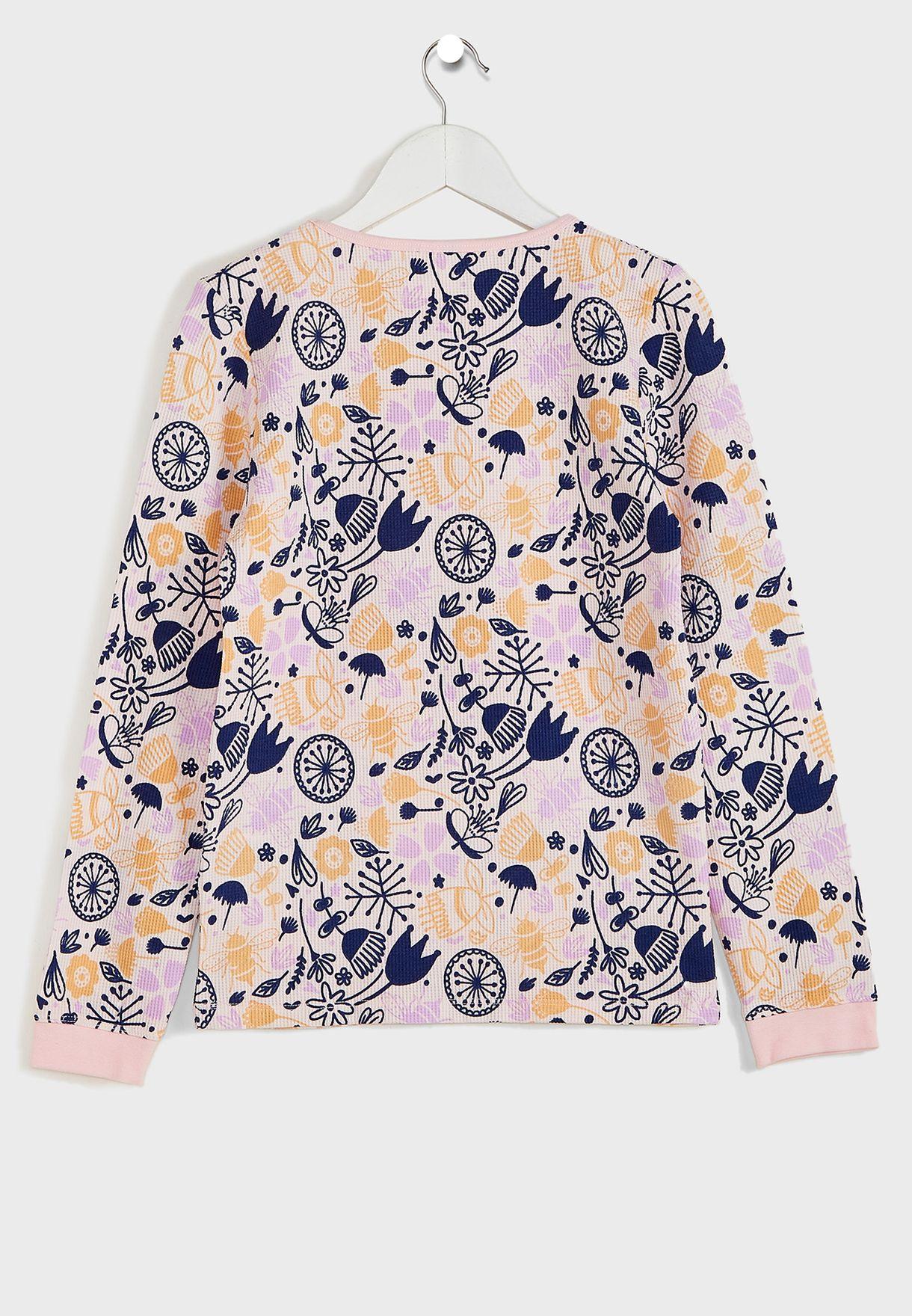 Kids Floral Bees Print Pyjama Set
