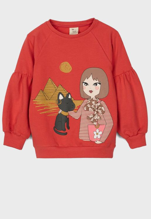 Kids Graphic Puss Sleeve Sweatshirt