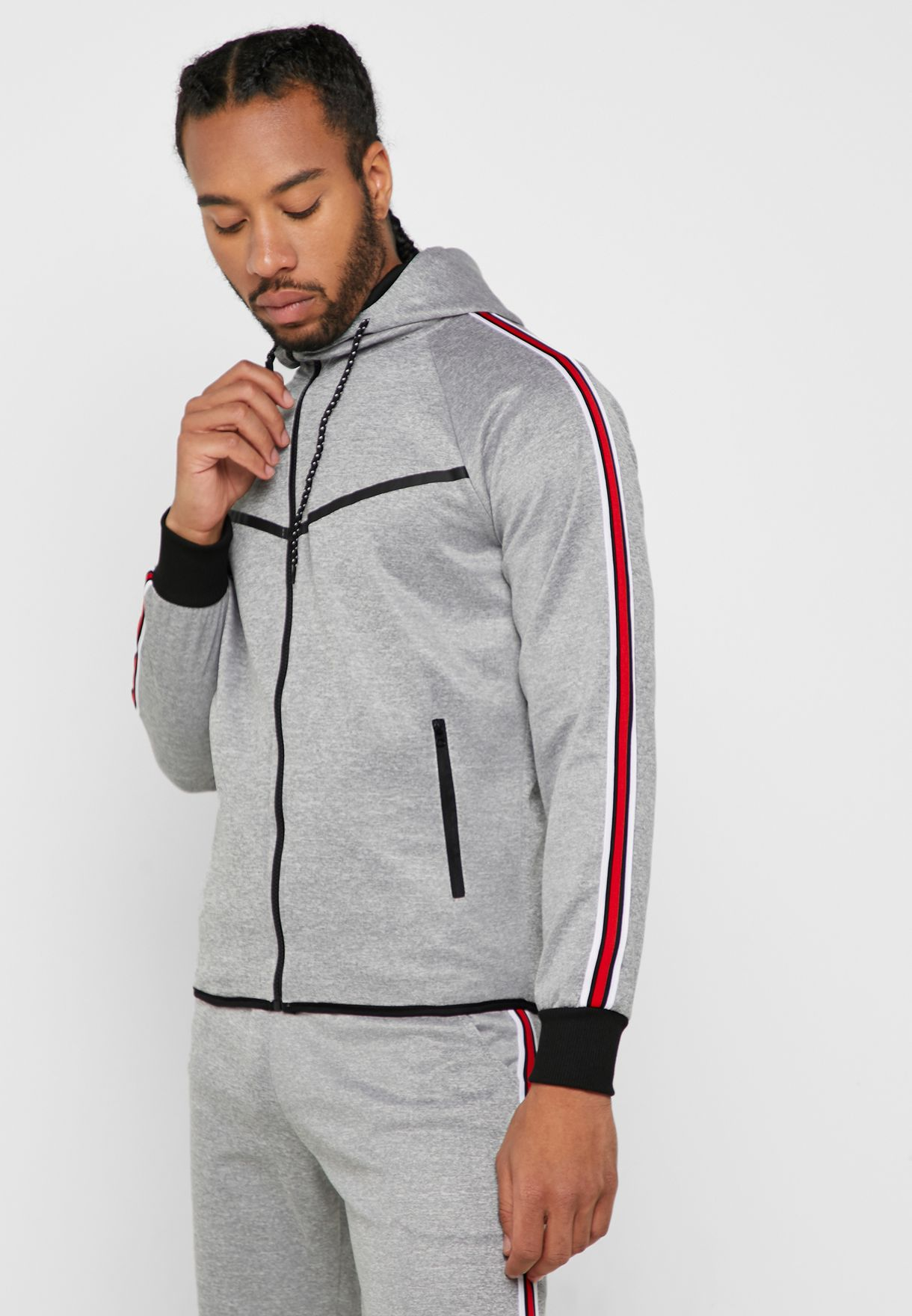Tape Detail Hooded Tracksuit