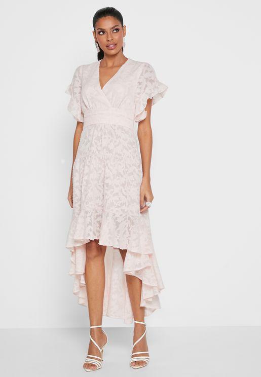 Plunge Neck High Low Dress