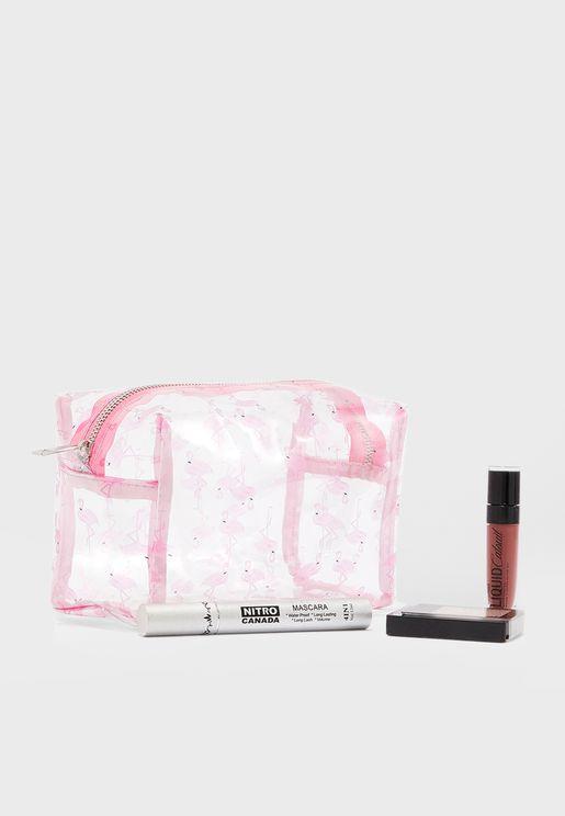 Flamingo Print Cosmetic Bag