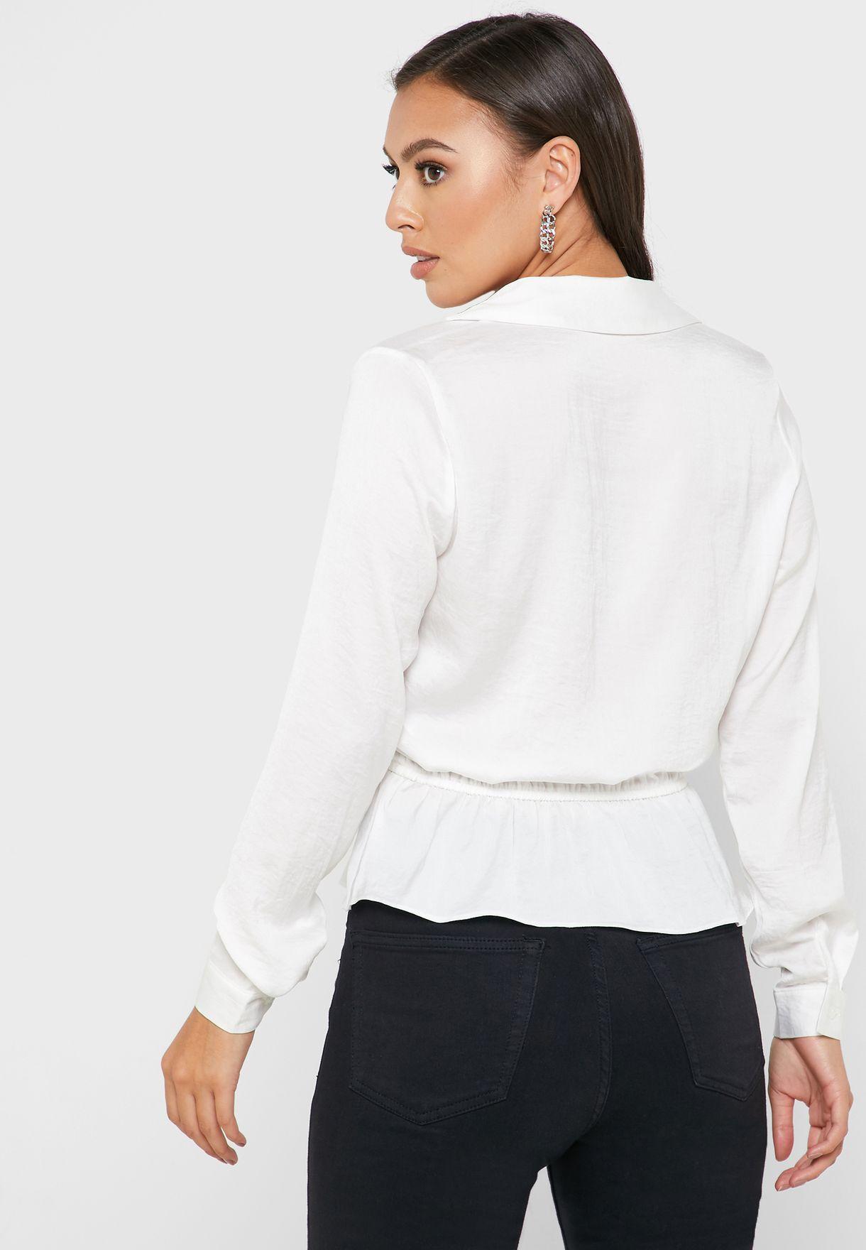Front Button Tie Waist Shirt