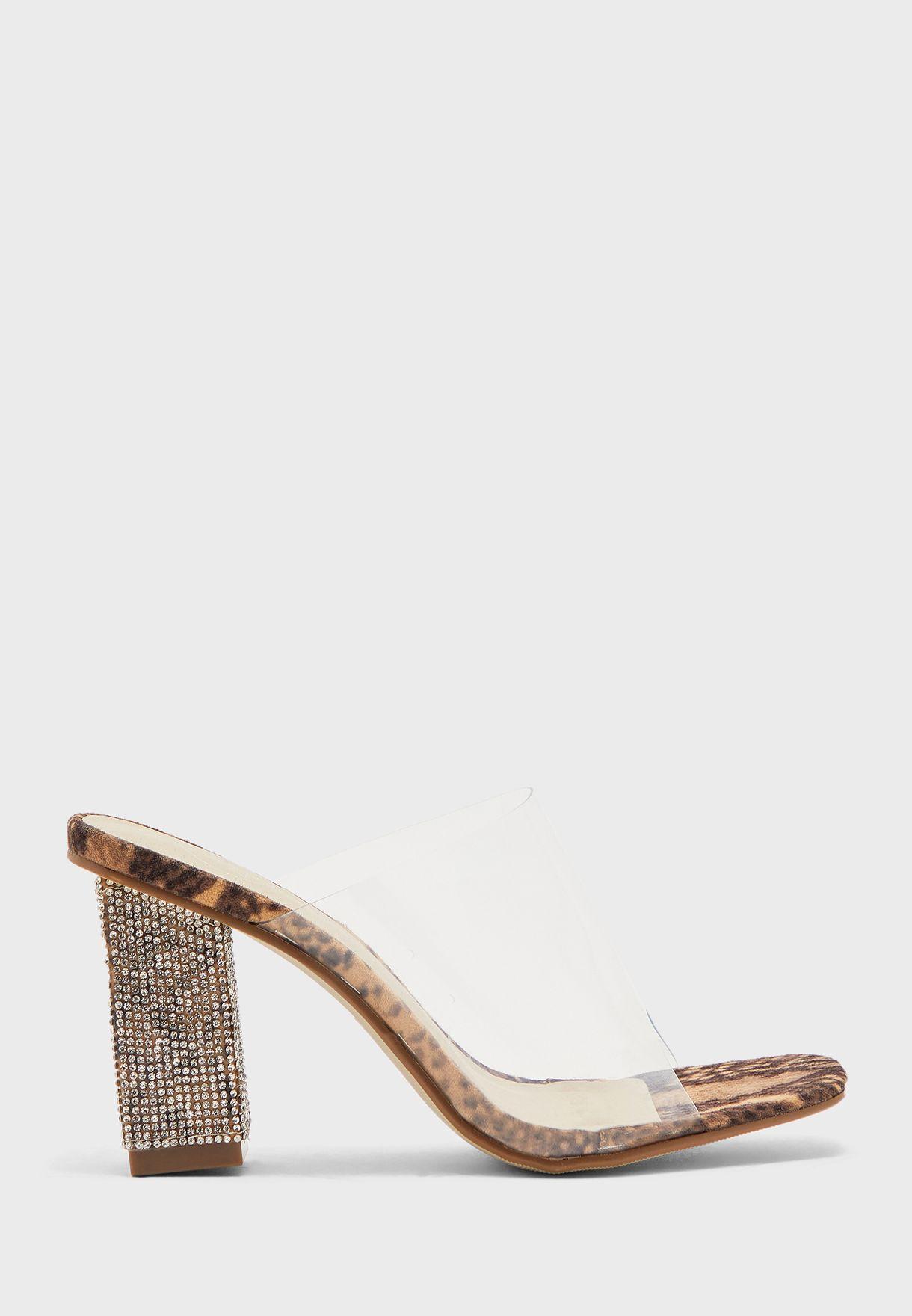 Transparent Wide Strap High Heel Sandal