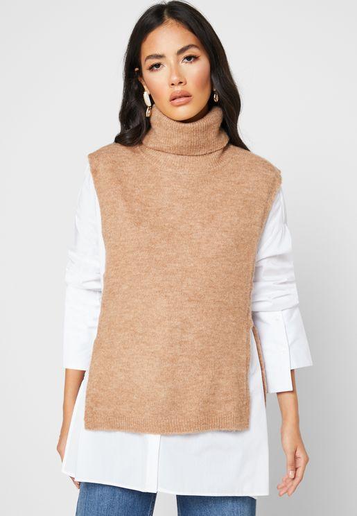 Roll Sleeve Side Tie Sweater