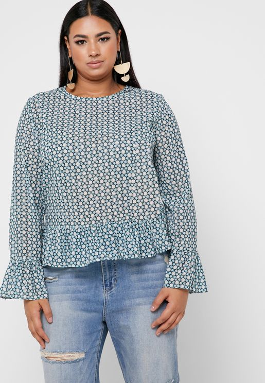 Printed Ruffle Trim Top