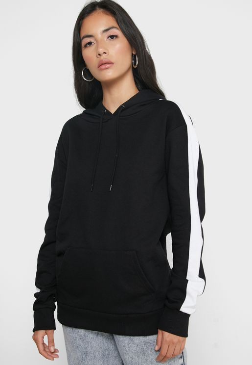 Contrast Side Paneled Pocket Hoodie