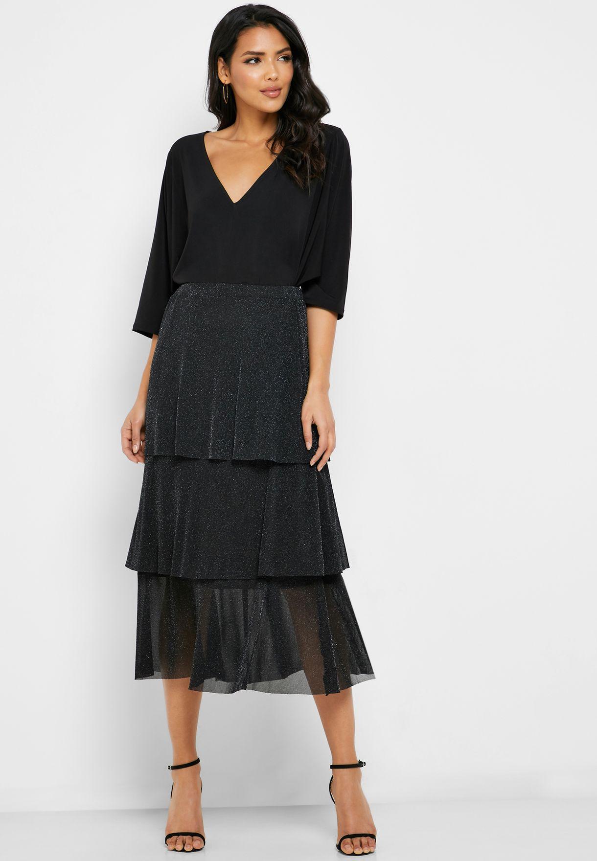 Ella Metallic Tiered Midi Skirt - Fashion