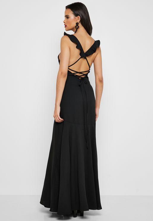 Side Slit Ruffle Detail Maxi Dress