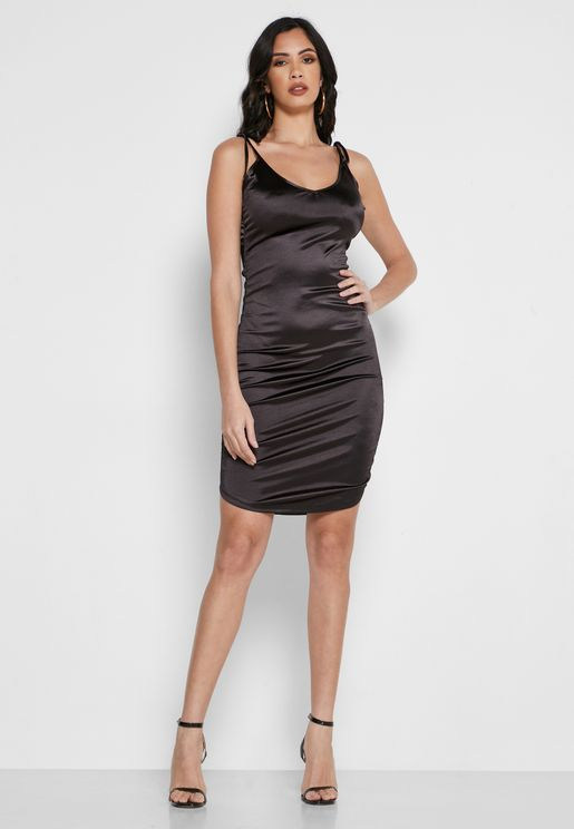 Ruched Cami Strap Dress