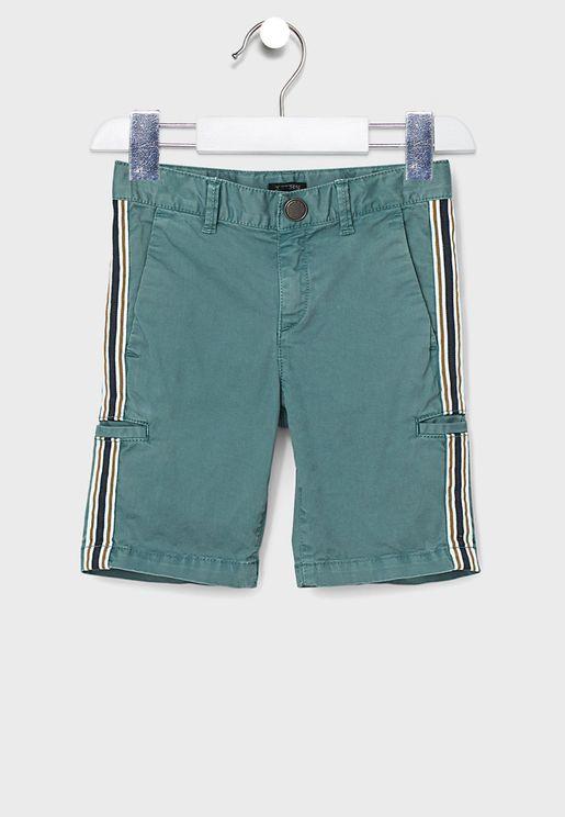 Kids Side Tape Striped Shorts