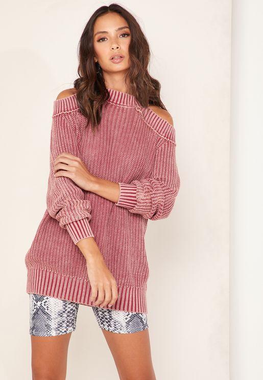 Half Moon Cold Shoulder Ribbed Sweater