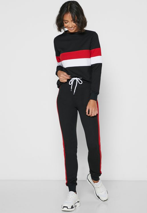 Contrast Side Paneled Joggers Set