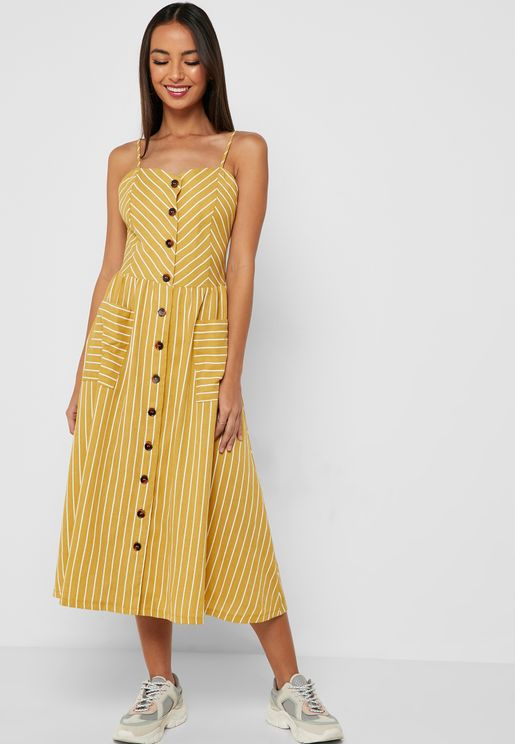 Striped Button Down Midi Dress