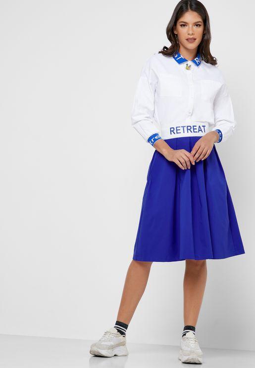 Slogan Waist Band Skirt