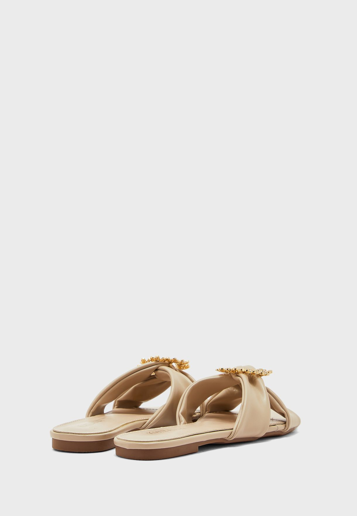 Knotted Daisy Brooch Flat Sandal