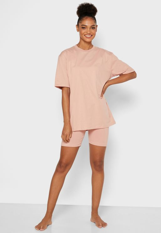 Oversized T-Shirt Cycling Shorts Set