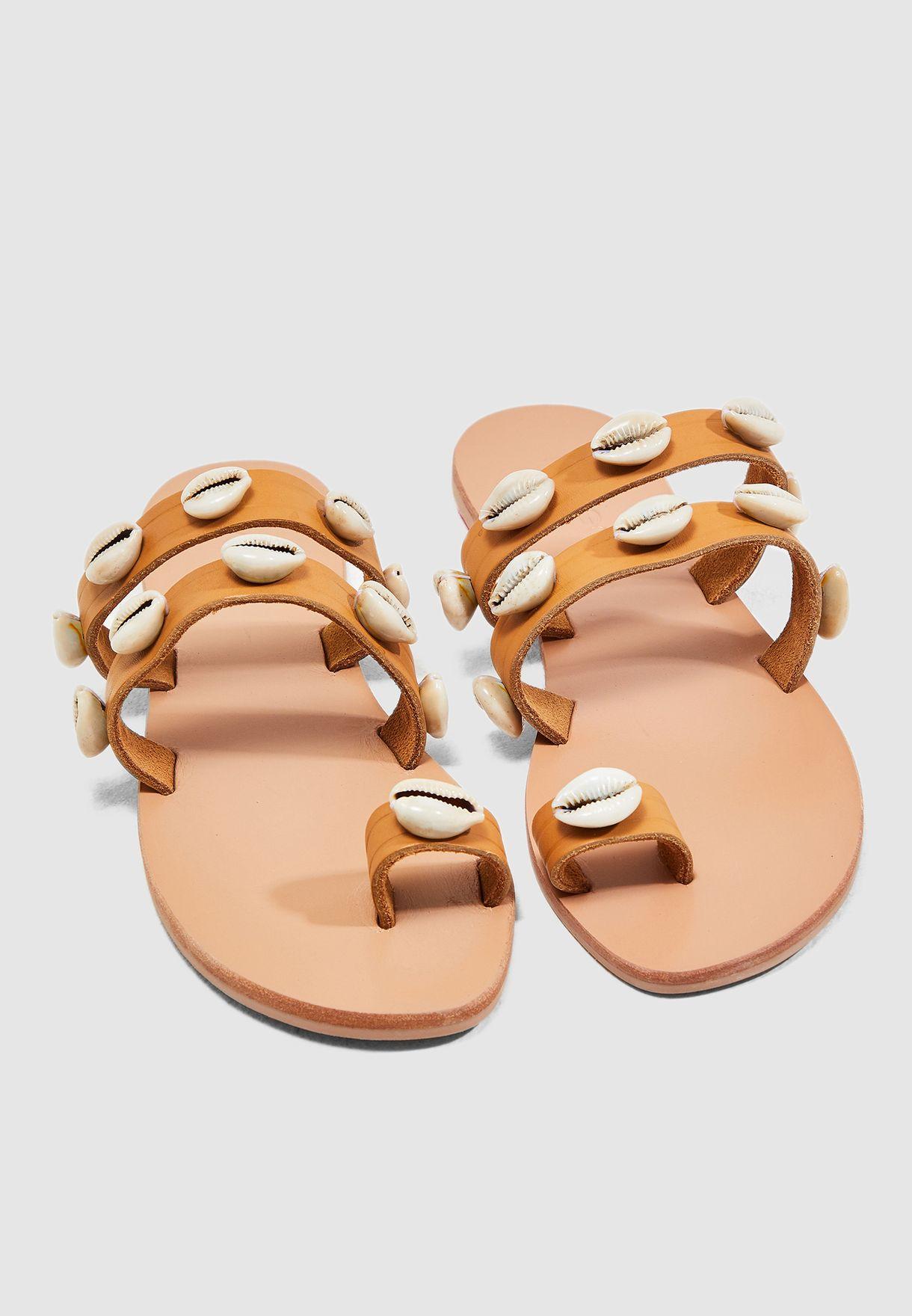 Buy Mango brown Conchi Shell Sandal for