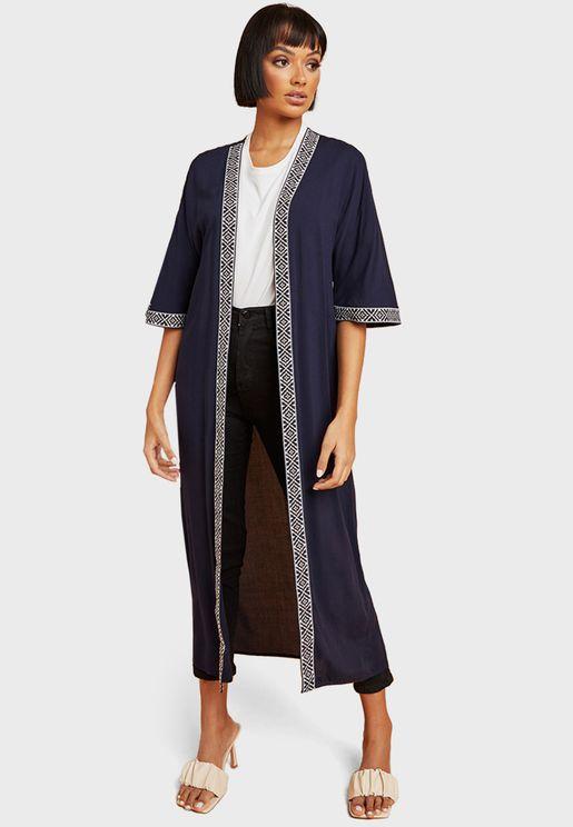 Embroidered Longline Kimono