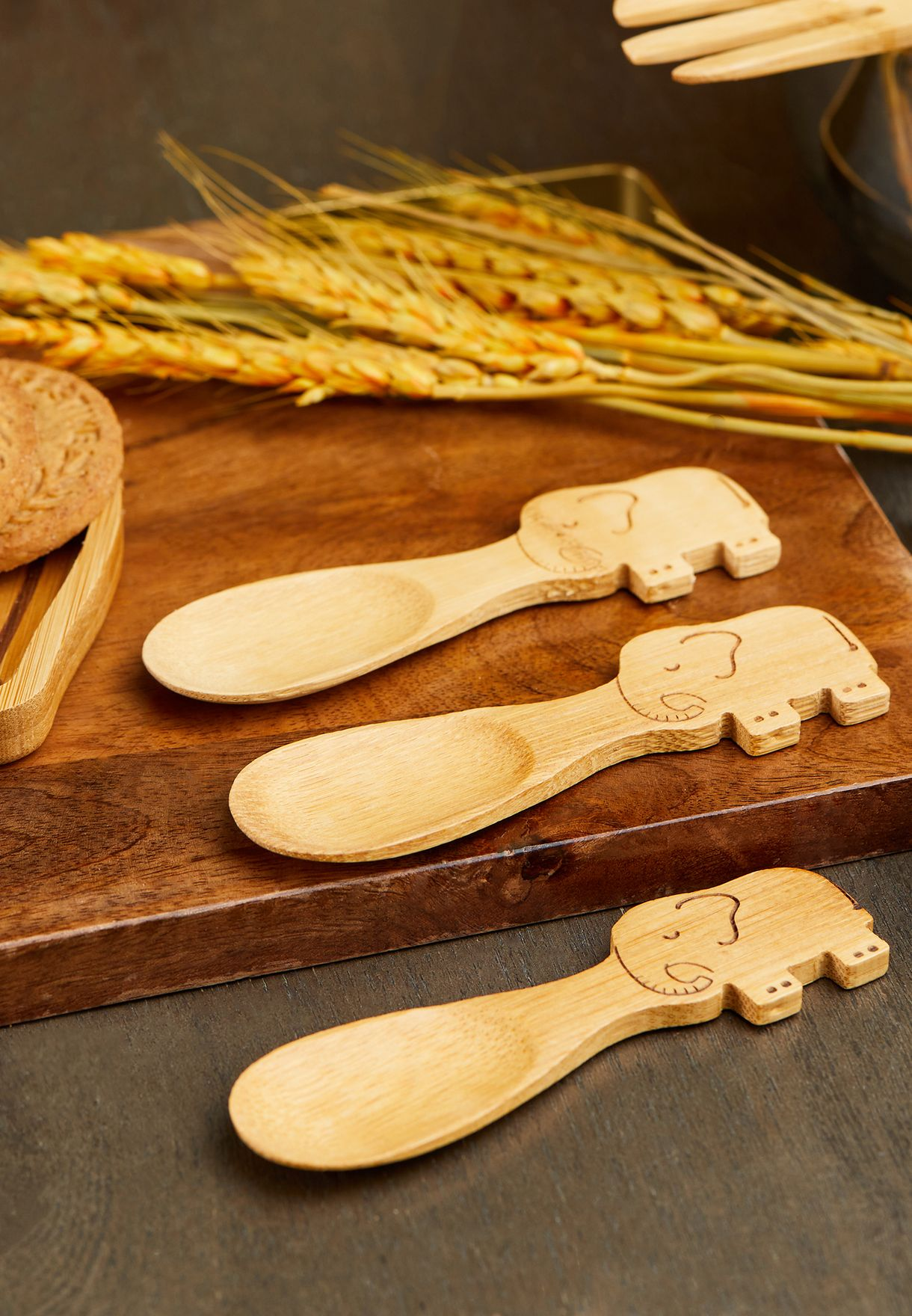 Set Of 3 Elephant Bamboo Spoons