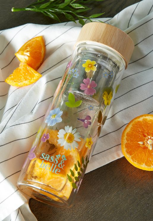 Pressed Flowers Water Bottle With Infuser