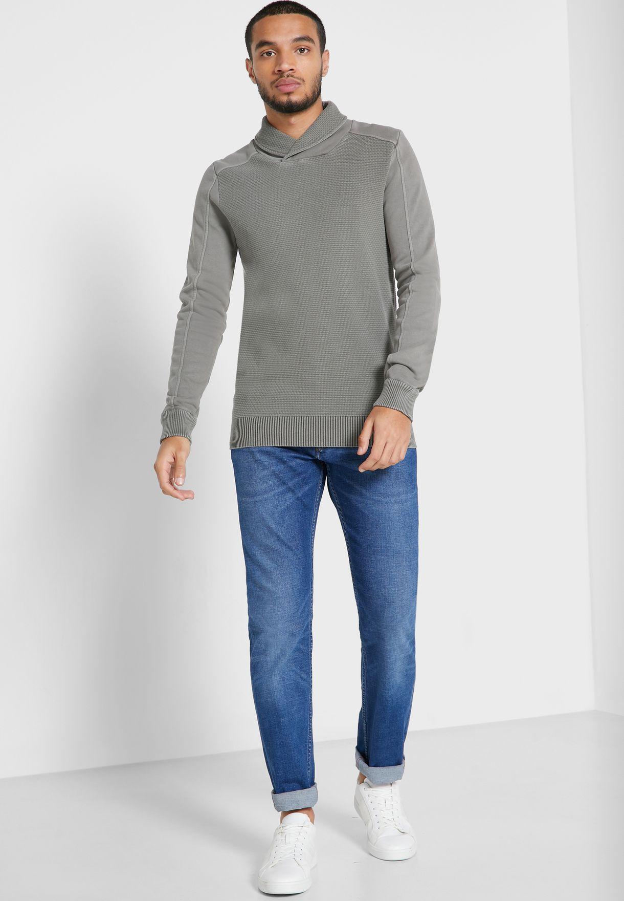 Textured Shawl Neck Sweater