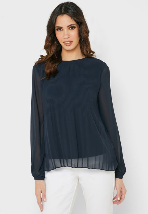 Plisse Detail Mesh Sleeve Top