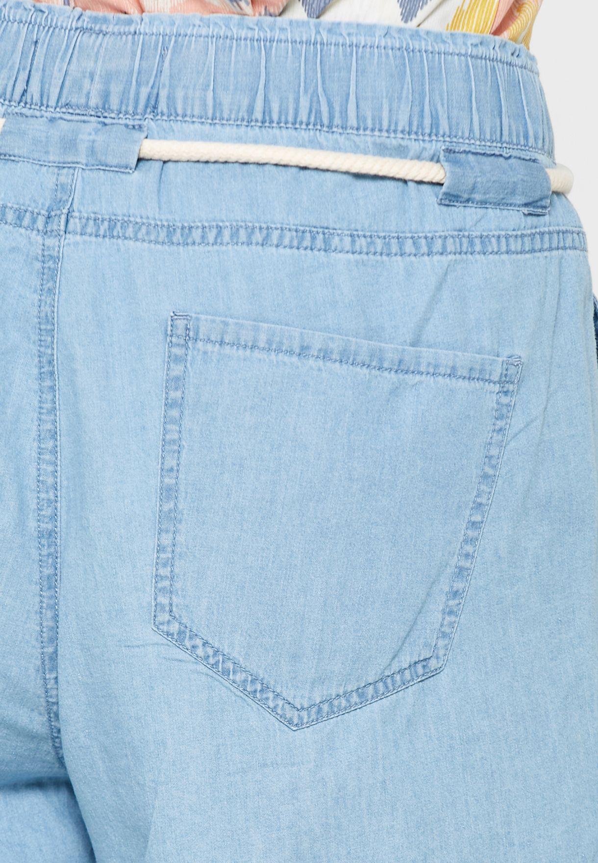 Tie Waist Denim Shorts