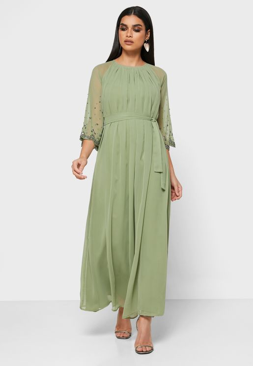 Scallop Embroidered Sleeve Gathered Maxi Dress