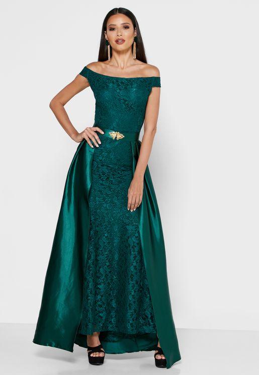 Detachable Skirt Bardot Lace Maxi Dress