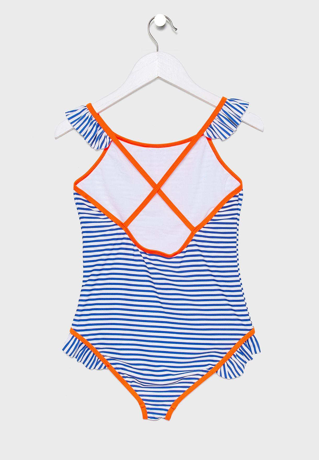 Teen Ruffle Trim Crossback Striped Swimsuit