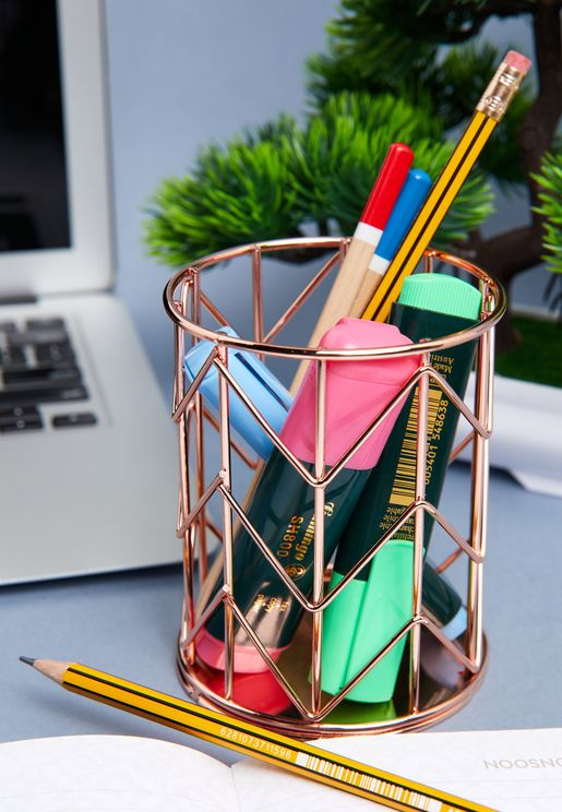 Rose Gold Wire Pen Pot