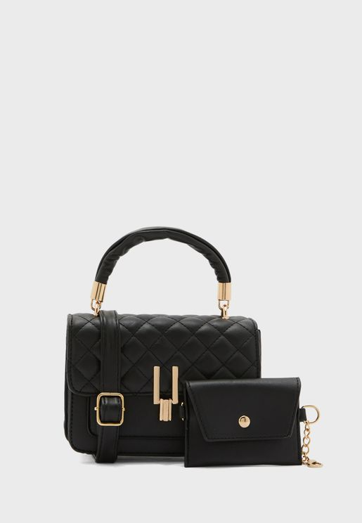 Scrunch Handle Quilted Handbag with Wallet Pouch