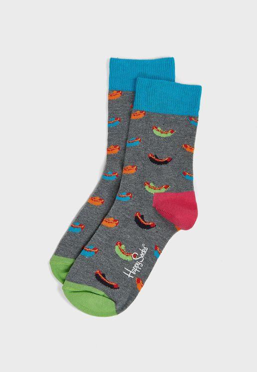 Kids Hotdog Print Crew Socks