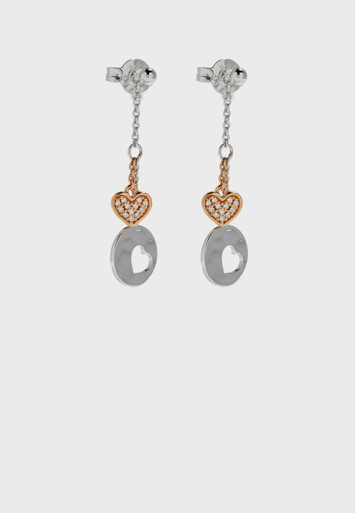 Studded Heart Chain Drop Earrings