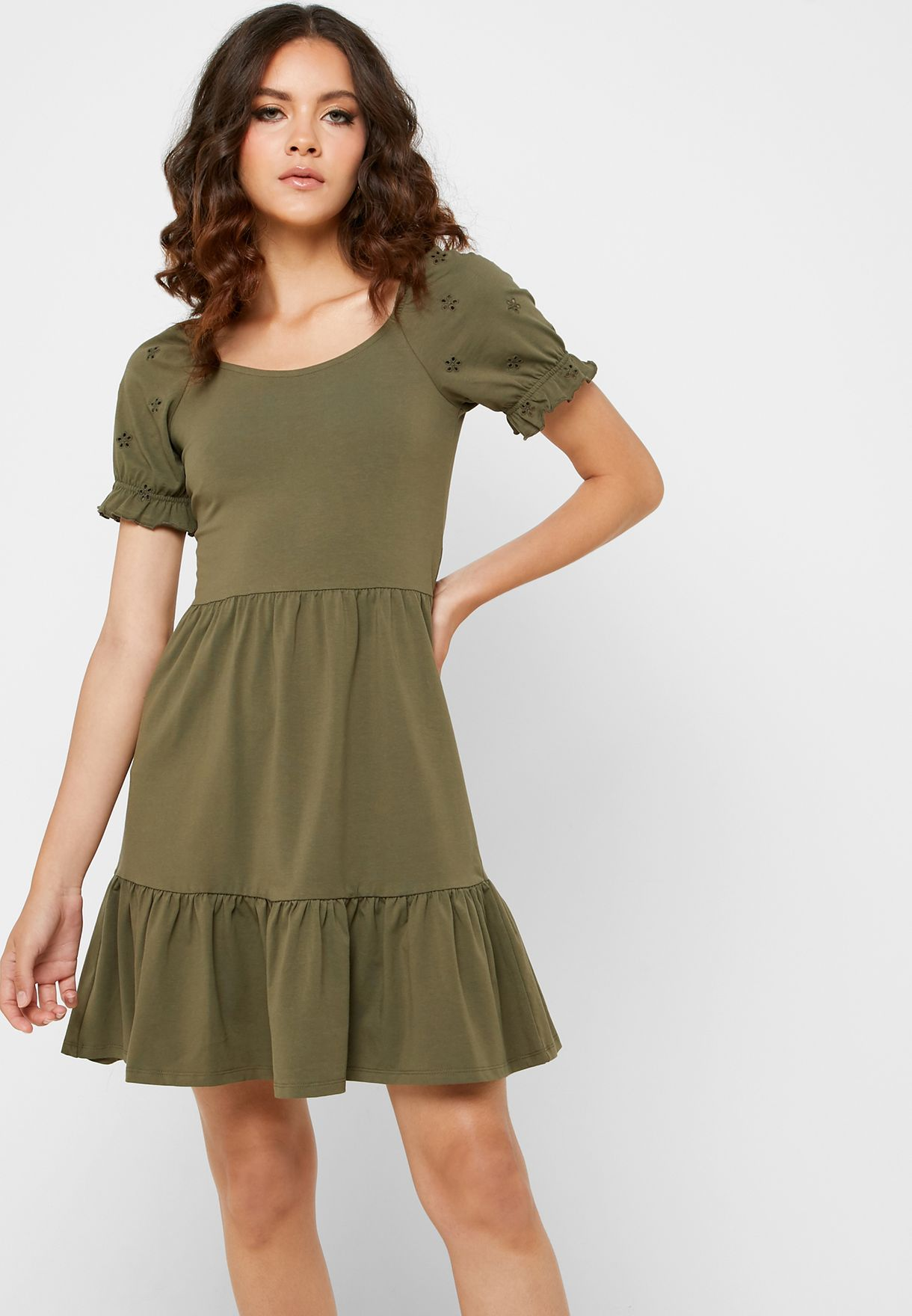 Puffed Sleeve Pephem Dress