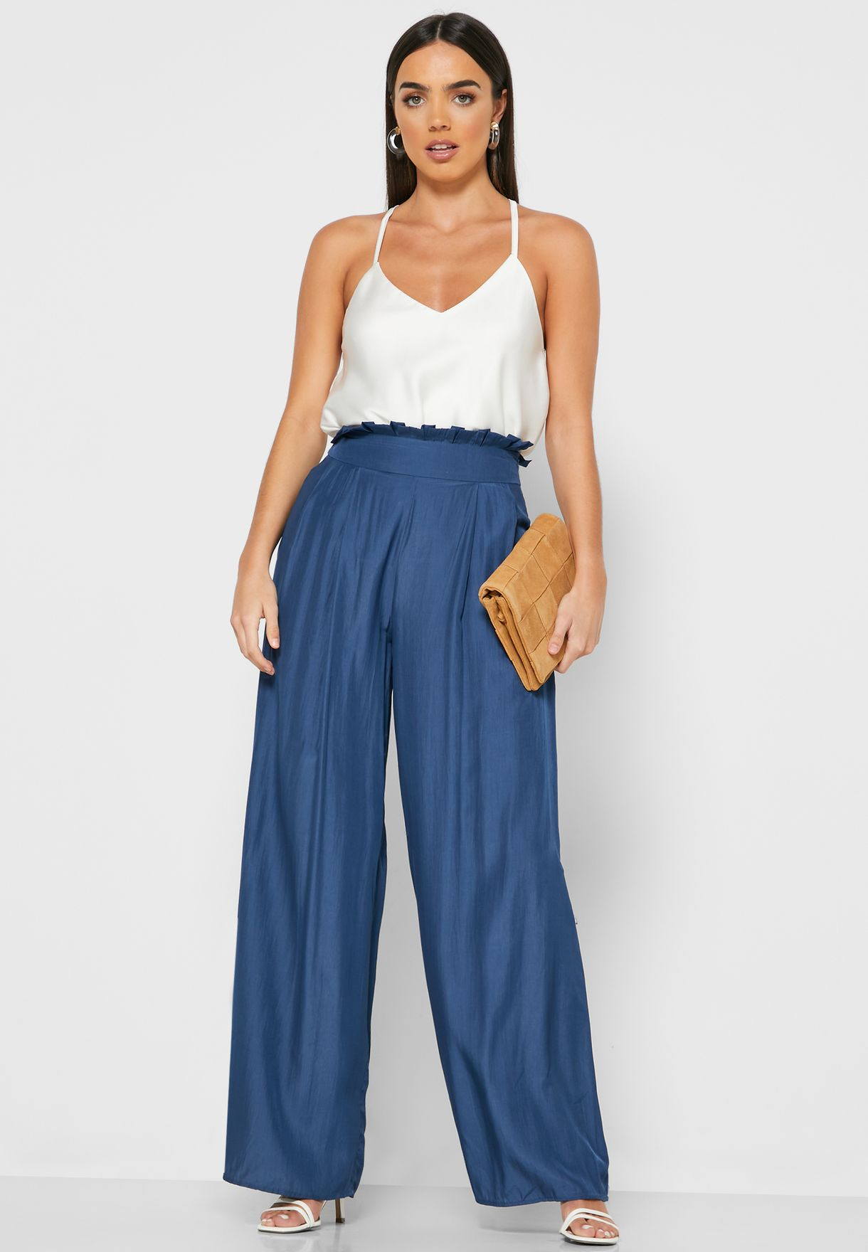 Paperbag Waist Wide Leg Pants