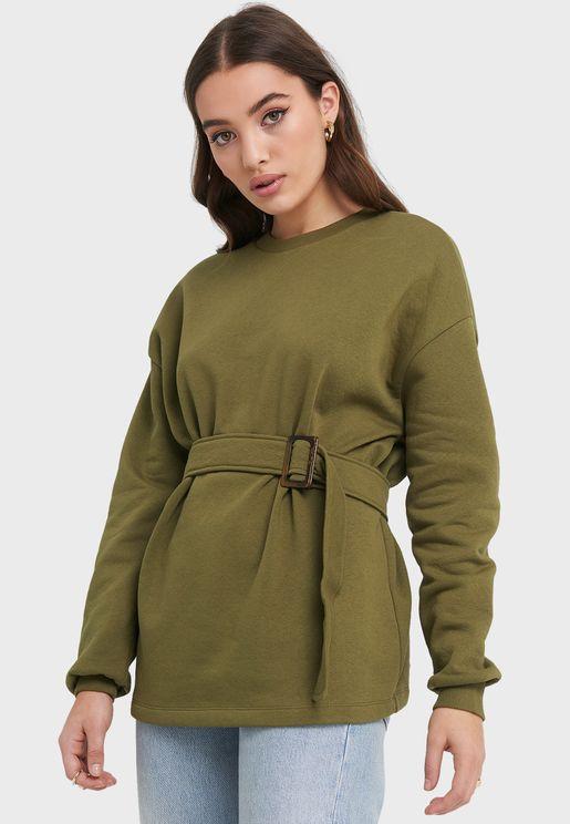 Belted Sweatshirt