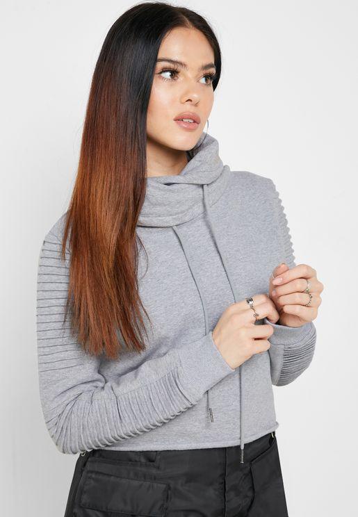 Adeline Funnel Neck Cropped Sweatshirt