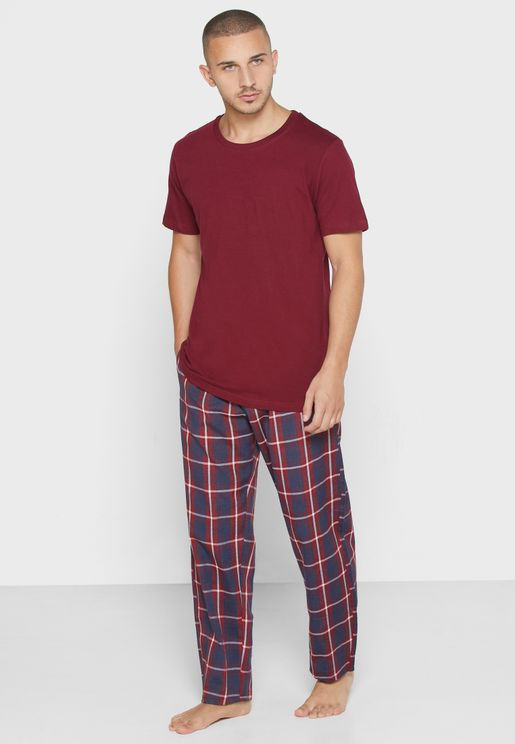 Check Pants and T Shirt Set