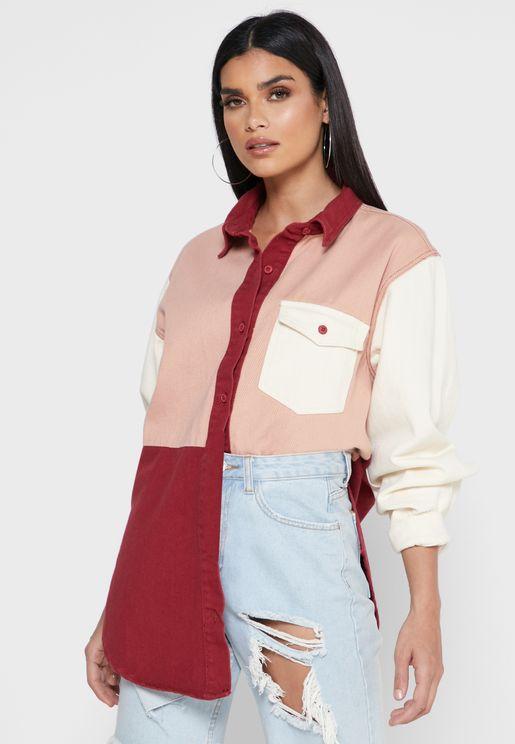 Colorblock Denim Shirt Dress