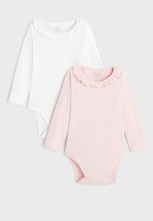 Infant 2 Pack Frill Collar Bodysuit