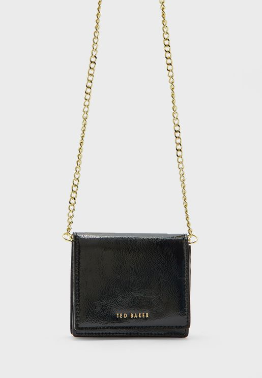 Adeley Crinkle Patent Chain Detail Crossbody