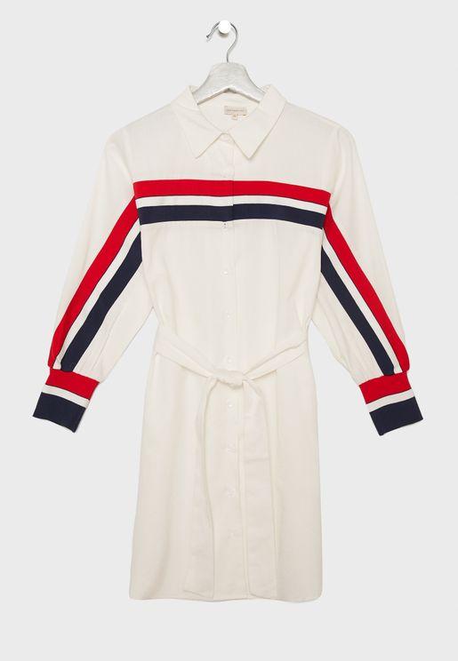 Teen Stripe Detail Shirt Dress