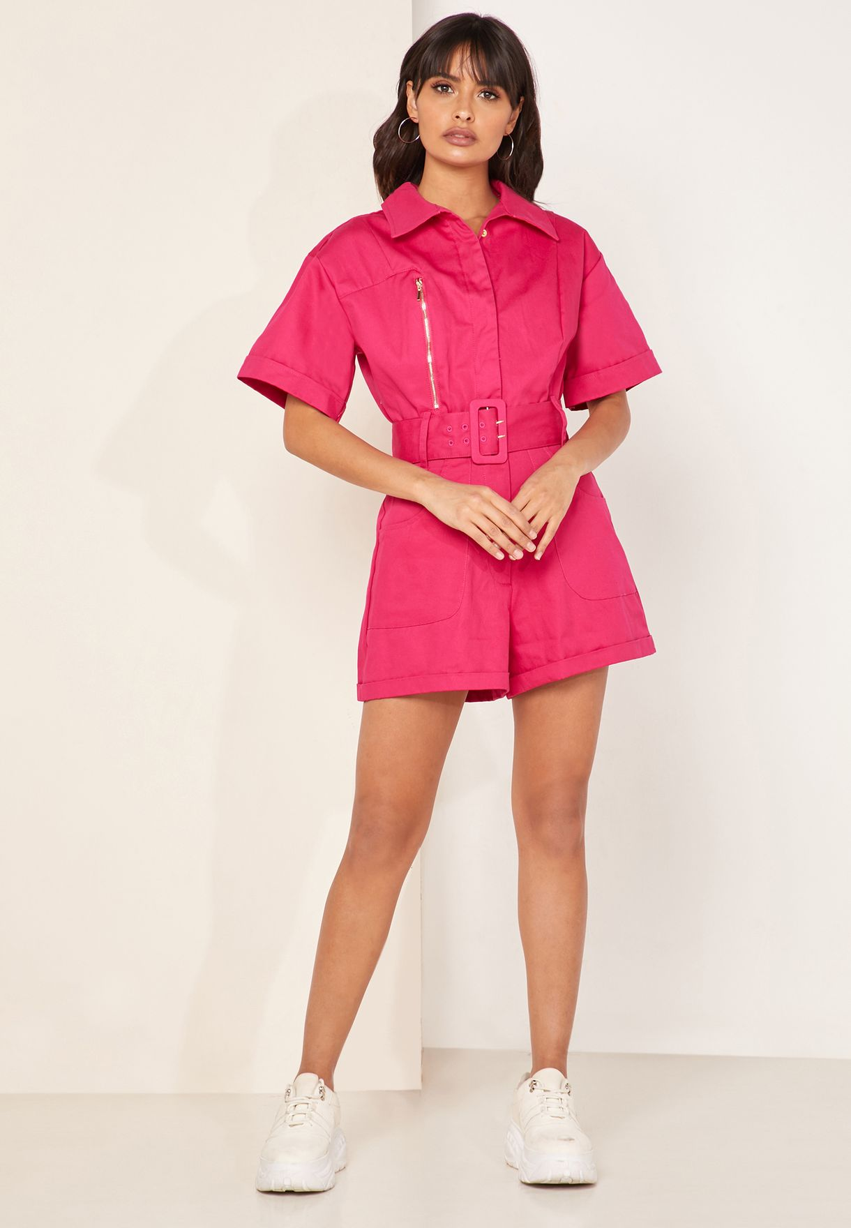 Heloise Button Down Belted Playsuit