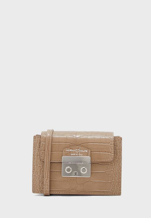 Italian Leather Croc Mini Bag