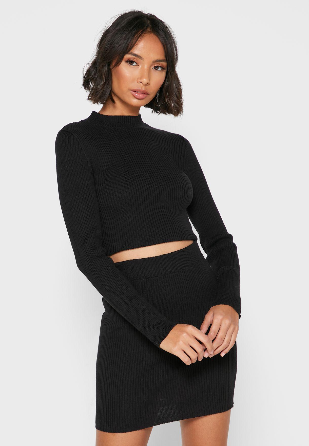 Ribbed Mini Skirt Set