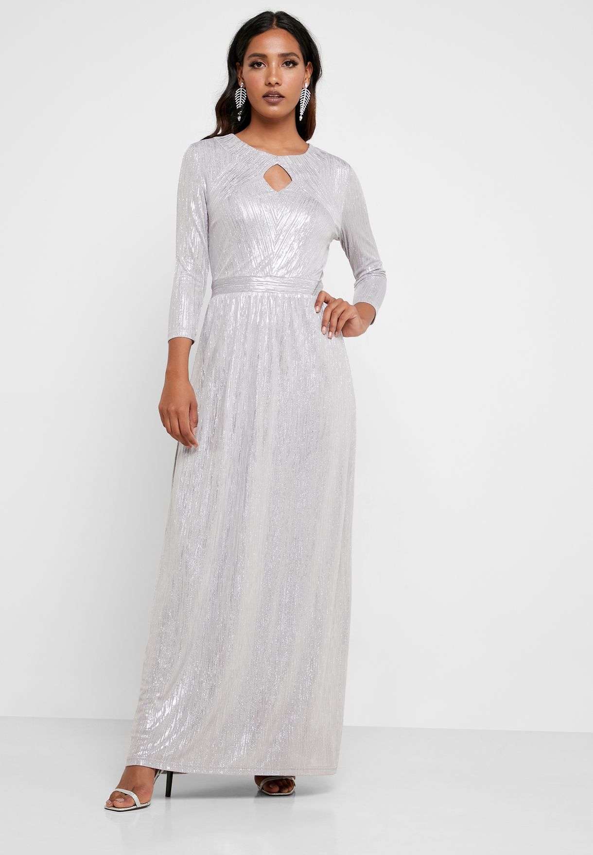 Buy Mela London Grey Shimmer Keyhole Dress For Women, Uae 19928at64ukp