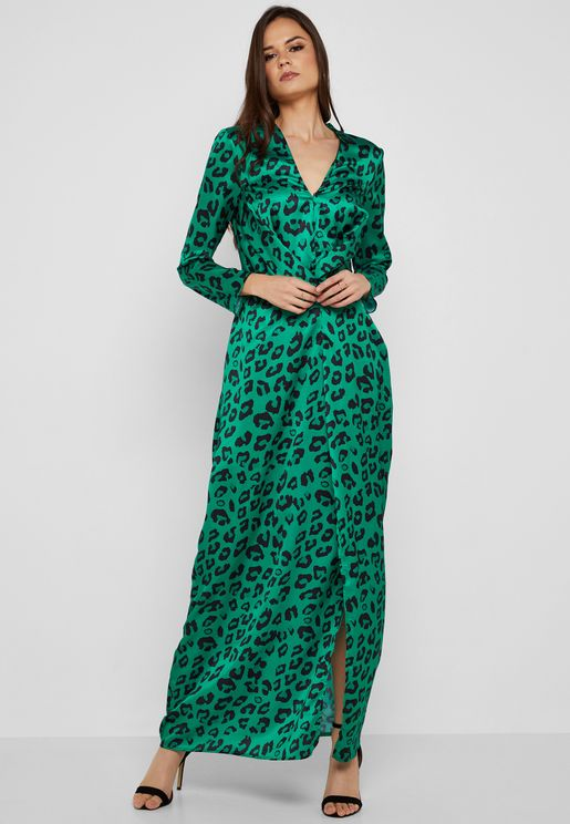 Leopard Print Twisted Front Maxi Dress