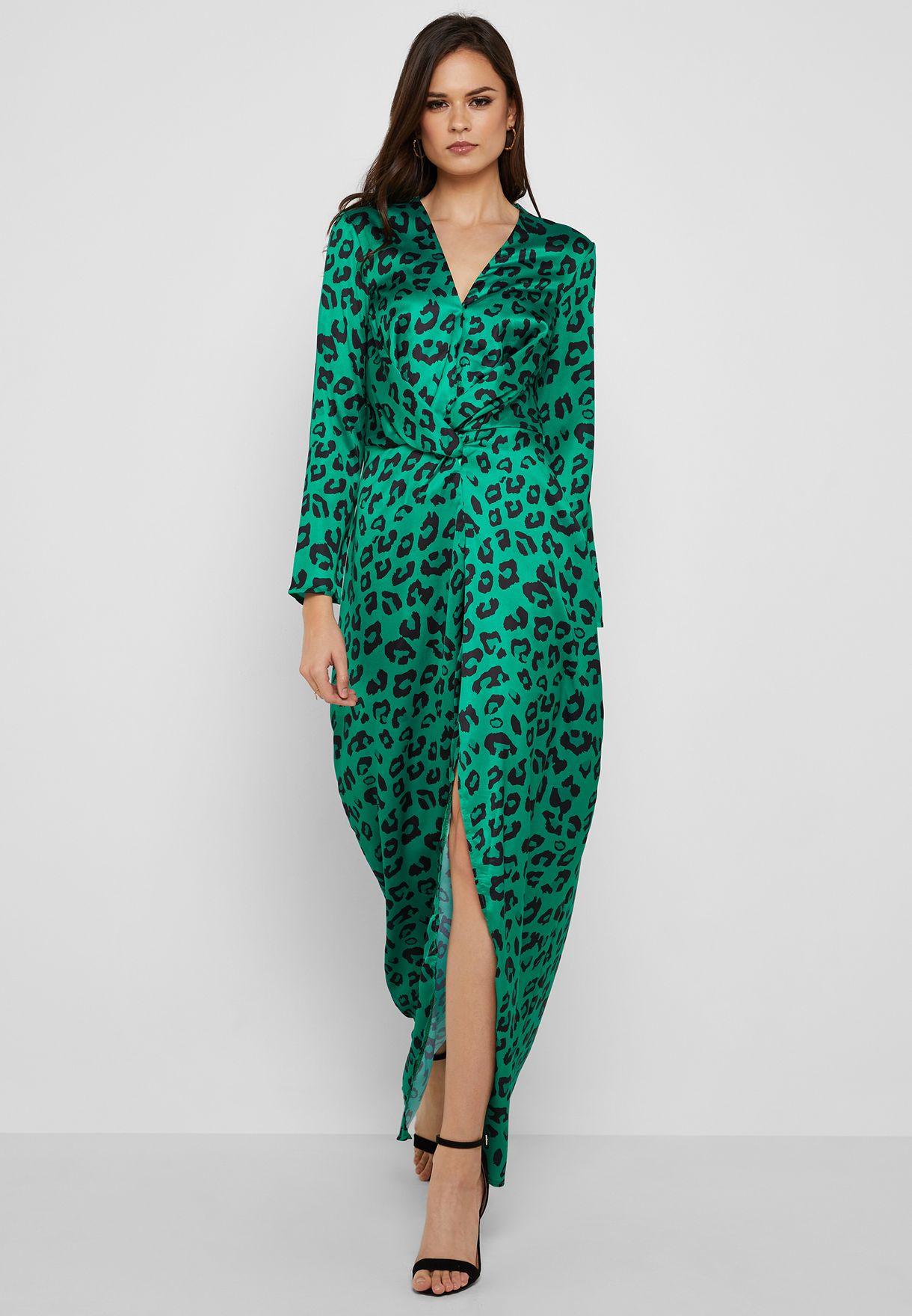 Leopard Print Twisted Front Maxi Dress
