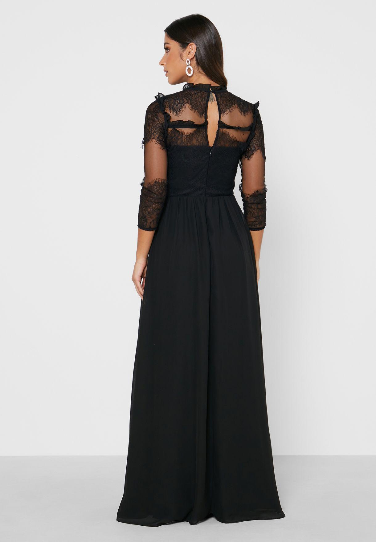 High Neck Mesh Detail Dress